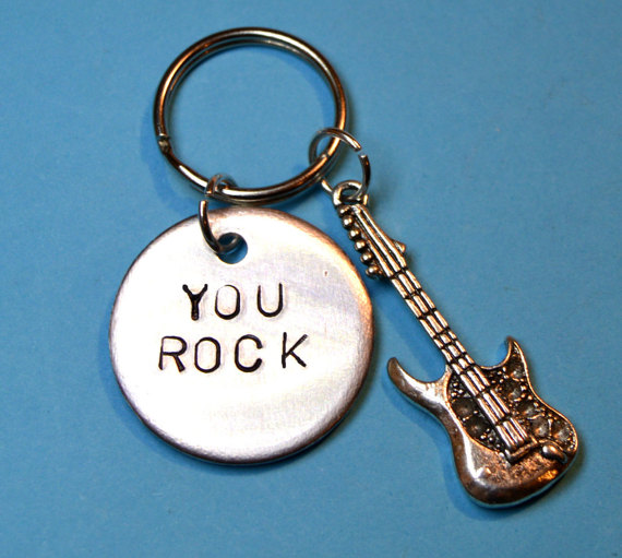guitar gift- guitarist gift, handstamped keyring - personalised