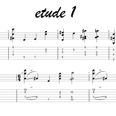Modern jazz guitar etudes licks chordal, fingerstyle or hybrid picking. Advanced jazz guitar chord exercises.