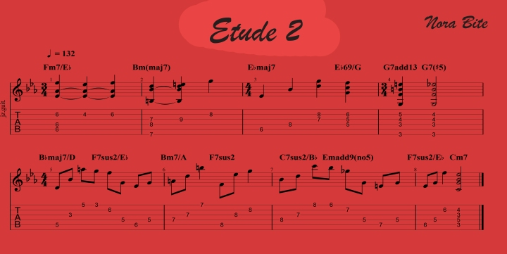 Etude 2 - Modern jazz guitar advanced exercises. Fingerstyle, chord melody exercises charts and guitar pro files. Jazz guitar advanced.
